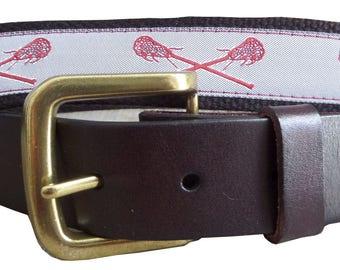 Lacrosse Leather Belt / Sports Belt / Preppy Webbing Belt Men, Women and Children/Maroon on White Lacrosse Ribbon on Black Webbing
