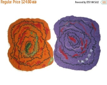 ON SALE Felted Placemat, set of 2: Wool. Freeform, table sauna pet dog cat mat, orange red blue green purple blue brown