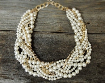 SALE - Bridal Statement Necklace - Gold Pearl Crystal Necklace - Pearl Statement Necklace - Pearl Chunky Necklace