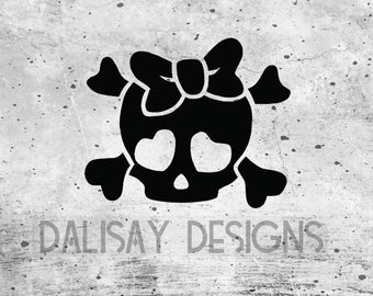 Girly Skull and Crossbones Decal
