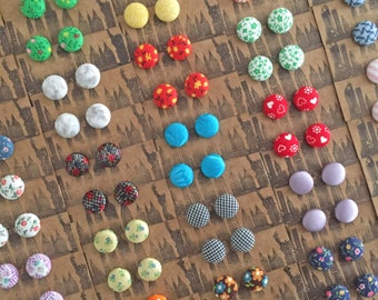 Button Earrings / 25 Pairs / Wholesale Jewelry / Fabric Covered / Posts / Bulk Discount / Handmade / Gifts for Her / Resale / Hypoallergenic