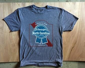 Wilmington, NC Vintage Beer Logo Tshirt Heather Grey Blue Ribbon Cheap Beer Drinking Shirt
