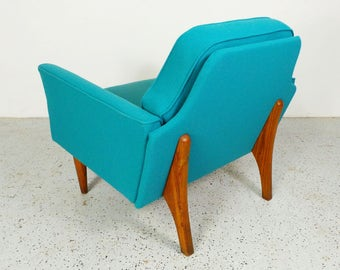 mid century modern reupholstered teal tweed walnut trim Pearsall style 50's lounge chair