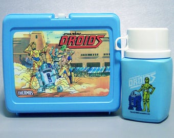Vintage 1985 Star Wars DROIDS Plastic Lunchbox with Thermos C9 Near Mint
