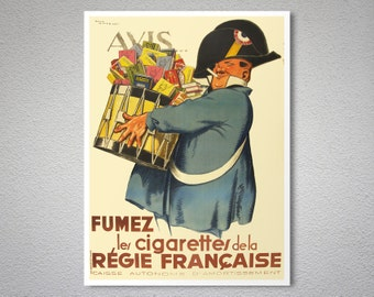 Fumez Les Cigarettes De La Regie Francaise Vintage Poster ByRene Vincent