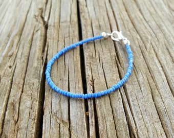 airy mid blue bracelet ocean beach surf simple seed bead jewellery