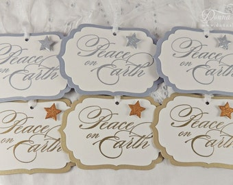 Christmas Gift Tags, Holiday Tags, Peace on Earth Tags, Silver Tags, Gold Tags, Party Favor Tags - Set of 6