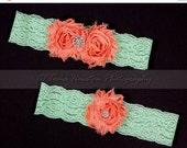 30 PERCENT OFF Bridal, Wedding Garter Set- Coral Shabby Chiffon Flowers, Mint Green Lace