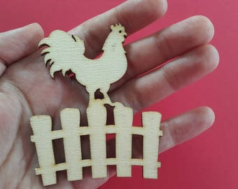 Laser Cut Plywood  Rooster on the fence For Your Crafts