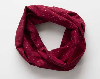 Toddler Infinity Scarf - Maroon & Gold Dot Infinity Scarf
