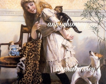 Art Print Child's Room Little Girl, Dog, and Cat 408