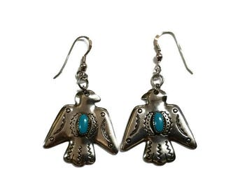 Native American Silver Turquiose Eagle Dangle Earrings