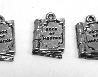 """Three (3) Pewter """"Book of Mormon"""" Charms - Free Shipping in the US - 0079"""