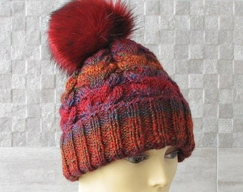Hand knitted slouchy Beanie ,Chunky Knit Beanie Fur Pom pom Red Hat
