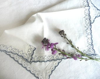 Vintage wedding handkerchief -blue and white handkerchief - vintage lace wedding handkerchief - cotton handkerchief with blue lace