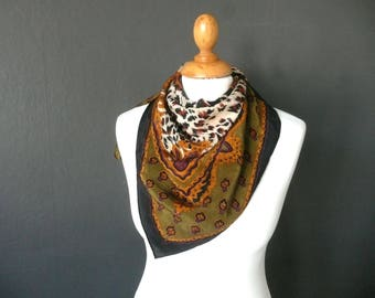 Leopard print silk scarf - black and gold silk scrf - black gold and olive green silk scarf - animal print silk scarf