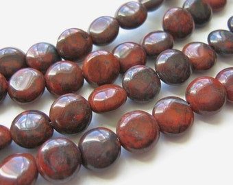 9mm Coin Red Brecciated Jasper Beads Flat Round Gemstone
