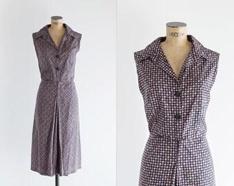 60s Dark Blue Shirt Dress - Vintage 1960s Printed Cotton Sundress - Cadirers Dress