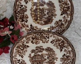 """Alfred Meakin - """"Tonquin"""" - Salad Plates - Brown - Transferware - Set of 2"""