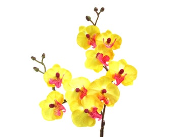 "17"" Artificial Silk Butterfly Phalaenopsis Orchid Flower Spray - Yellow"