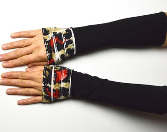 Mittens long arm warmers vintage retro black romantic