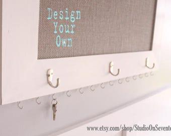 Large Burlap Cork Board with Key Hooks-Custom Framed CorkBoard-Design Your Own Distressed MessageBoard-PinBoard-BulletinBoard-24x30-Monogram