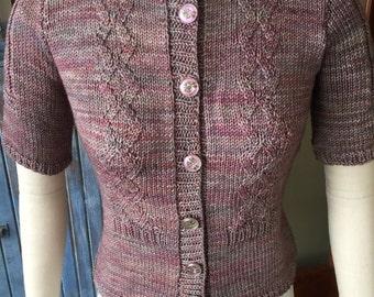 Vintage 1940s Style Hand Knit Pin Up Girl Cardigan Sweater Retro, Boho