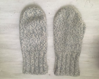 Vintage thick boiled wool/ white grey mittens/ one finger gloves/ women S M L knit