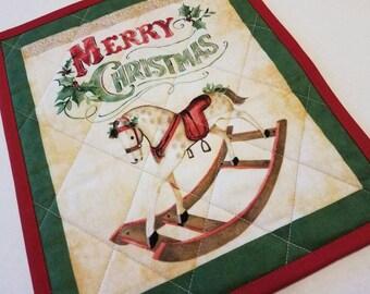 Christmas Rocking Horse Mug Rug, Snack Mat, Fabric Coaster, Candle Mat, Trivet, Secret Santa Gift, Hostess Gift, Holiday Home Decor, Rocky