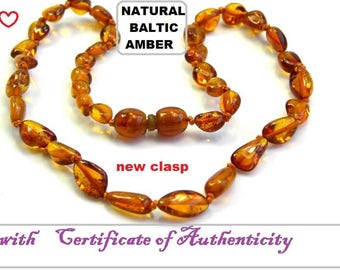"""Natural Baltic Amber Teething Child  Necklace Length 30-32 cm/ 12-12.8 """" inch"""
