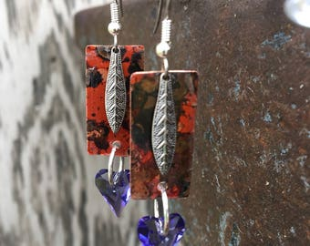 Mixed Metal Copper & Swarovski Purple Heart Earrings