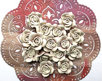 4 Pieces Polymer Clay Rose*32 mm Mauve Flatback Cabochon or Bead*Polymer Clay Flower Bead