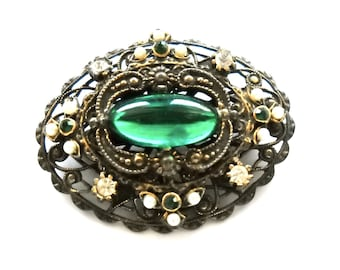 Vintage Bohemian Czech Transitional Brooch Pin Green Glass Cabochon, Seed Pearls, Rhinestones in Stamped Layered Brass circa 1915