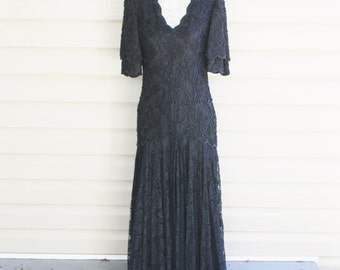 Vintage Black Lace Beaded Dress Brilliante By JA Evening Rayon Formal Long Weddings Bridesmaids