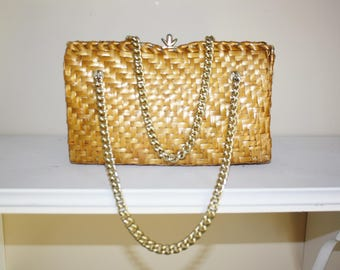 SASHA Italy Handbag, Evening Bag SASHA ITALY Purse Clutch Rattan Woven Gold Tone Handles Chic Stylish Unique