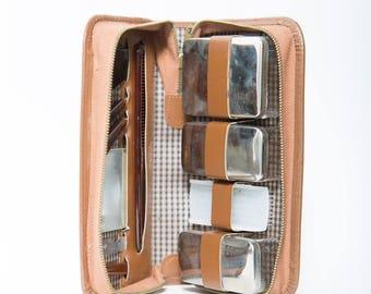Mens Travel Grooming Set 1950s Lucite Handles Leather Dopp Kit Germany