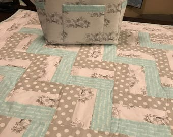 Elephant Grey and Teal Baby Boy or Girl Quilt and Diaper Bag Matching Set