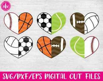 Half Sports Hearts, SVG, DXF, EPS, Cut Files, Mix to Create Full Heart, Baseball, Softball, Basketball, Soccer, Football, Volleyball, Tennis