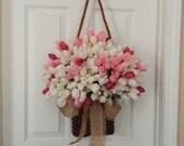 Valentine wreath, spring wreath, spring decoration, tulip wreath, front door wreath, outdoor wreath, spring door wreath,