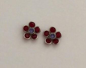 4 Swarovski Flower, Siam and Tanzanite Center, Swarovski Beads, 12mm