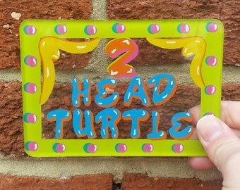 Vtg Two Headed Turtle Sideshow Sign // Hand Pained Glass // Freakshow Collection