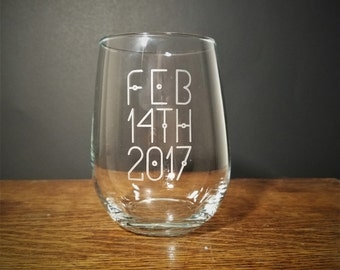 Personalized Date Stemeless Wine Glass