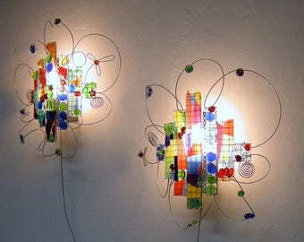 Kids Wall lamp or happy office sconce, recycle glass mosaic,  red,  green, yellow, blue, orange
