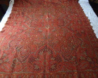 """Lovely Vintage Woven Throw with Rich Red and Gold Color,  62"""" by 49"""""""