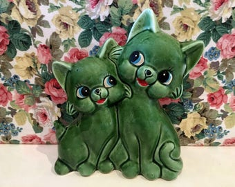 Reserved for Sam Please Do Not Buy Vintage Kitsch Cute Cat Kitties Coin Bank Money Box
