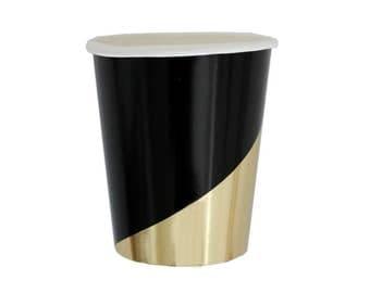 Noir - Black Colorblock Party Cups - metallic gold black paper cups birthday wedding shower Harlow & Grey