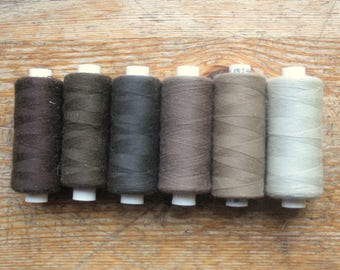 Sewing Thread Gray Brown 1000 yards Polyester Sewing Overlock Serger Cone Thread