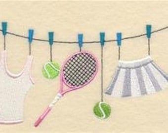 Quite a Racket Women Clothesline Embroidered Towel | Flour Sack Towel | Linen Towel | Dish Towel | Kitchen Towel | Hand Towel | Sports Gift