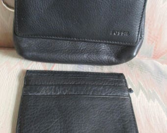Fossil Black Leather Coin Purse, Cards Case,ID, Key Chain