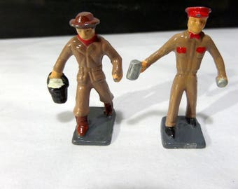 Britains/Barclay/JoHill Co - Lead Toy - Two Forestry or Station Workers - Small Size